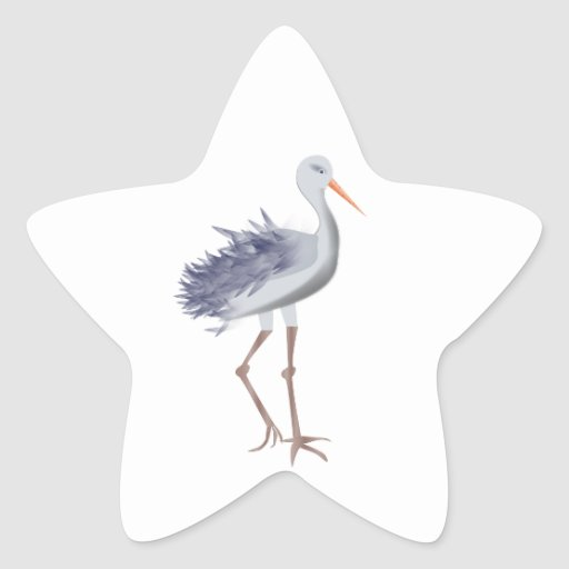 White and Gray Crane With Textured Feathers Star Stickers