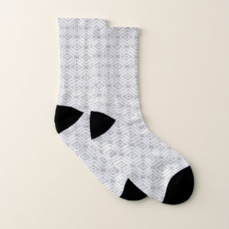 White And Gray Diamond Geometric Pattern Socks