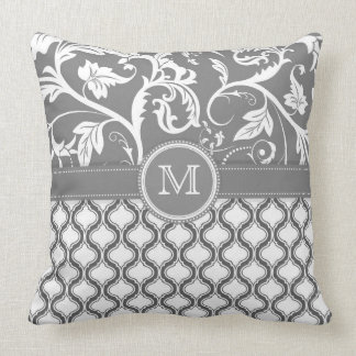 White And Gray Geometric Pattern And Floral Design Throw Pillow