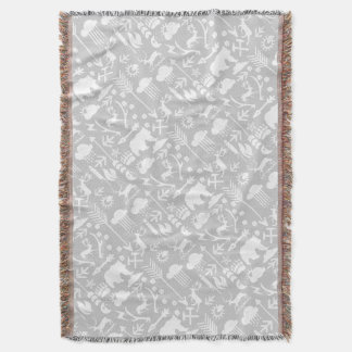 White and Gray Moon Clouds Bear Deer Lodge Boys Throw Blanket