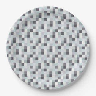 White and Gray Pixelated Pattern Paper Plate