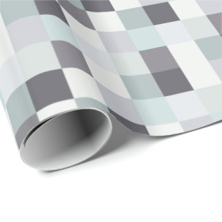 White and Gray Pixelated Pattern Wrapping Paper