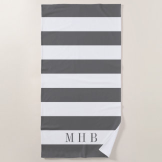 White and Gray Stripe and Monogram Beach Towel