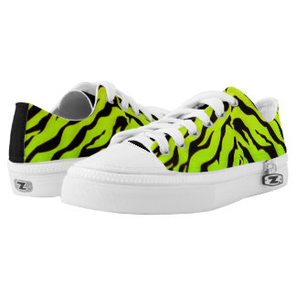 white And green Animal Tigers Stripes Low-Top Sneakers