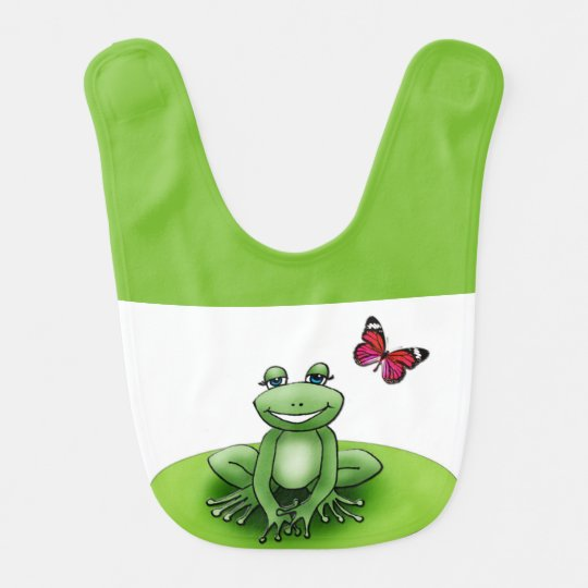 "White and green bib apple ""Froggy the frog """