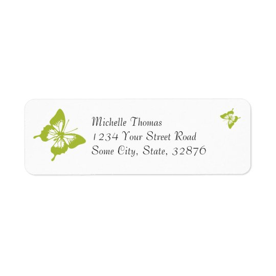 White and Green Butterfly Wedding Return Address