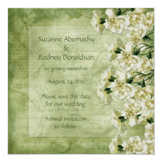 White and Green Carnations Save The Date Card