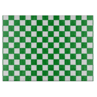White and Green Checkered Cutting Board