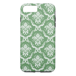 White And Green Damasks Pattern iPhone 7 Plus Case