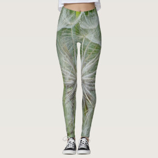 White and green floral leggins leggings