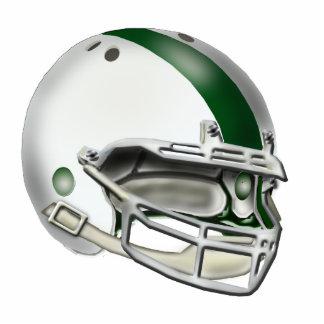 White and Green Football Helmet Ornament Photo Sculpture Ornament