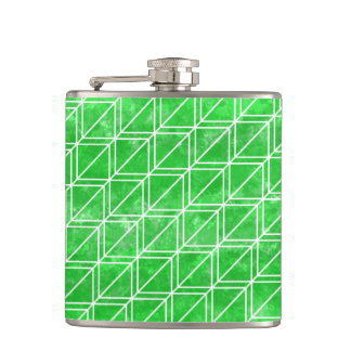 White and green geometric cube pattern flask