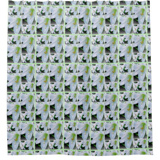White and green lilies shower curtain