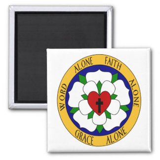 White And Green Luther Rose Magnet