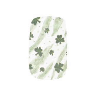 White and green shamrock pattern nails minx nail art