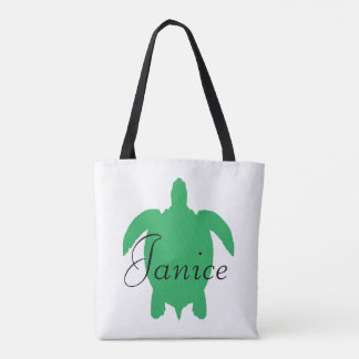 White and Green Striped Personalized Turtle Bag