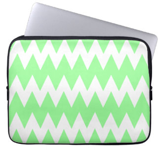 White and Green Zigzags. Laptop Sleeve