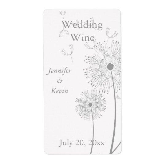 White and Grey Dandelion Wedding Mini Wine Labels