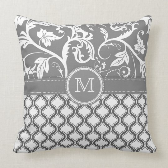 White And Grey Geometric Pattern And Floral Design Throw Pillow