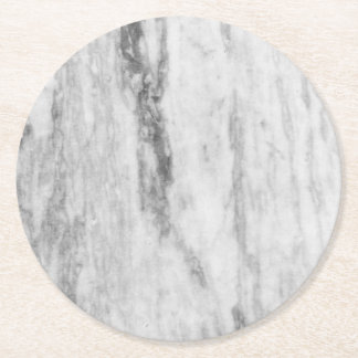 White And Grey Marble Texture Pattern Round Paper Coaster
