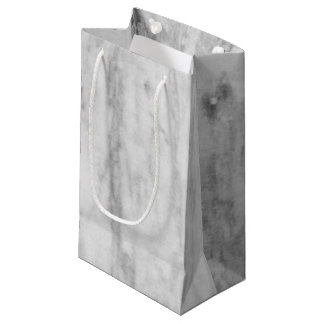 White And Grey Marble Texture Pattern Small Gift Bag