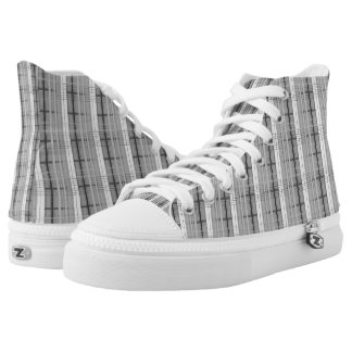 white and grey plaid pattern high tops