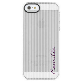 white and grey stripes personalized by name clear iPhone SE/5/5s case