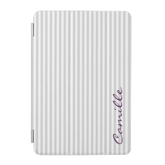 white and grey stripes personalized by name iPad mini cover