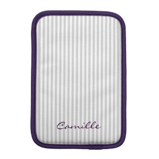 white and grey stripes personalized by name iPad mini sleeves