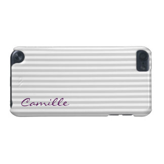 white and grey stripes personalized by name iPod touch 5G covers
