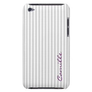 white and grey stripes personalized by name iPod touch cases