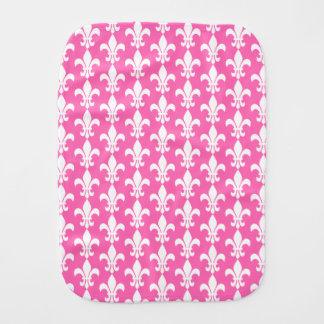 White and Hot Pink Fleur de Lis Pattern Burp Cloths