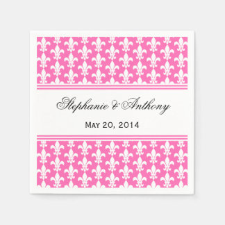 White and Hot Pink Fleur de Lis Wedding Disposable Napkins
