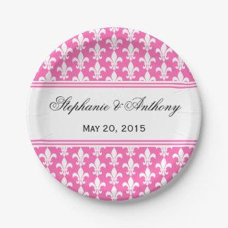 White and Hot Pink Fleur de Lis Wedding Paper Plate