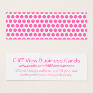 White and Hot Pink Polka Dots Mini Business Card