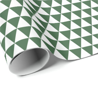 White and Hunter Green Triangles Wrapping Paper