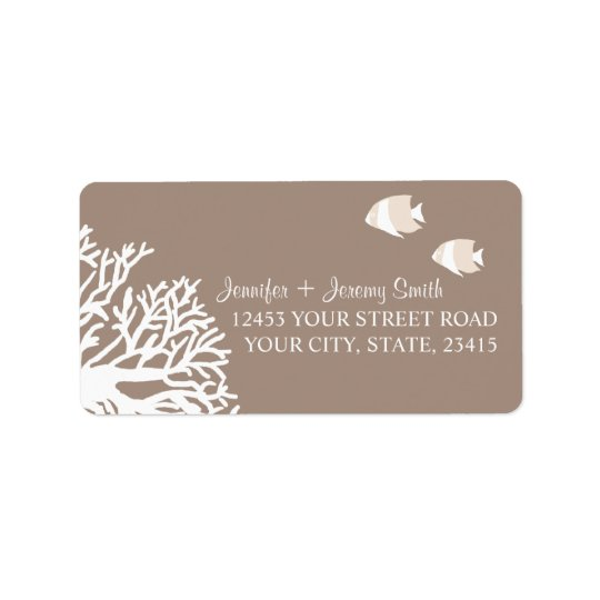 White and Ivory Beige Tropical Angelfish Label