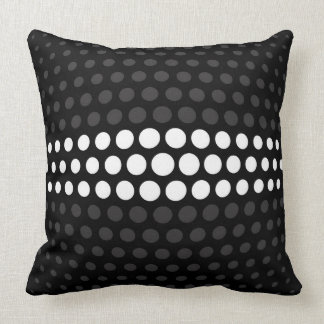 White and Jet Polka Dots Pattern Throw Pillow