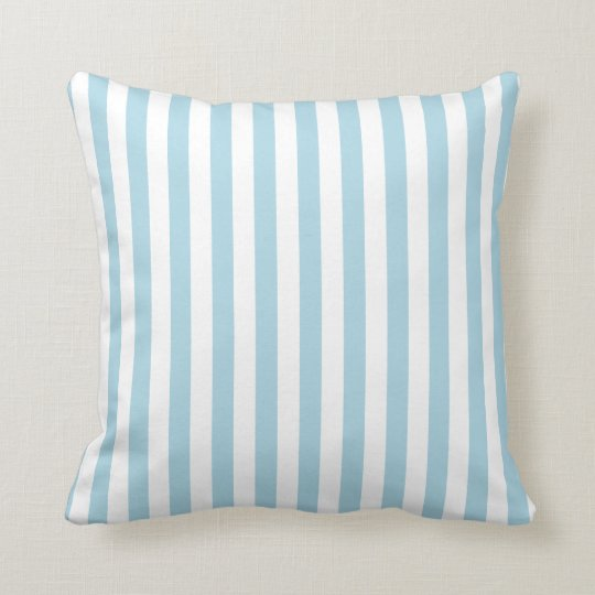 White and Light Blue Stripes Throw Pillow