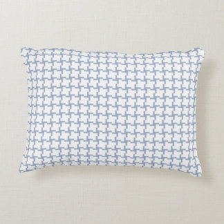 White and Light Blue Tiled Pattern Decorative Pillow