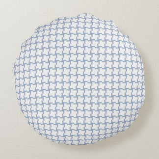 White and Light Blue Tiled Pattern Round Pillow