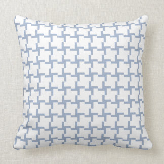 White and Light Blue Tiled Pattern Throw Pillow
