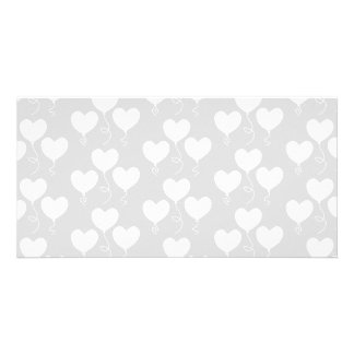 White and Light Gray Pattern of Heart Balloons Photo Card Template