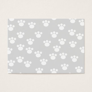 White and Light Gray Paw Print Pattern. Business Card