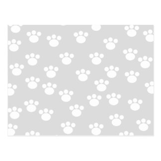 White and Light Gray Paw Print Pattern. Postcard