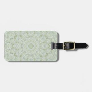 White and  Light Green Rose Mandala Kaleidoscope Luggage Tag