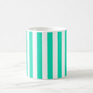 White and light green striped mug