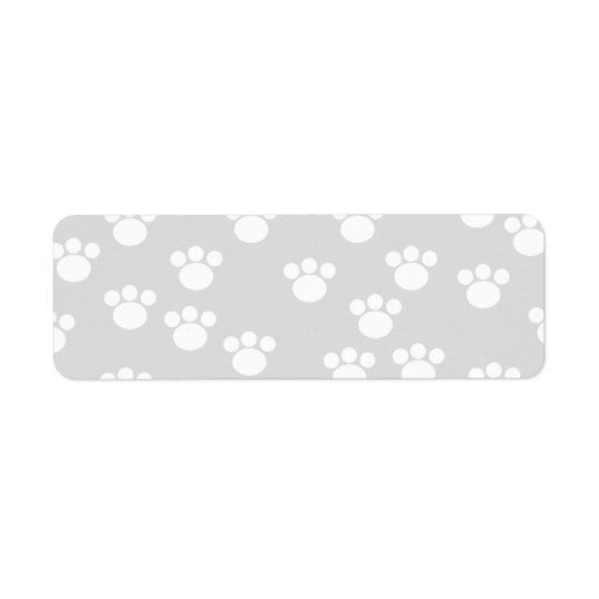 White and Light Grey Paw Print Pattern.