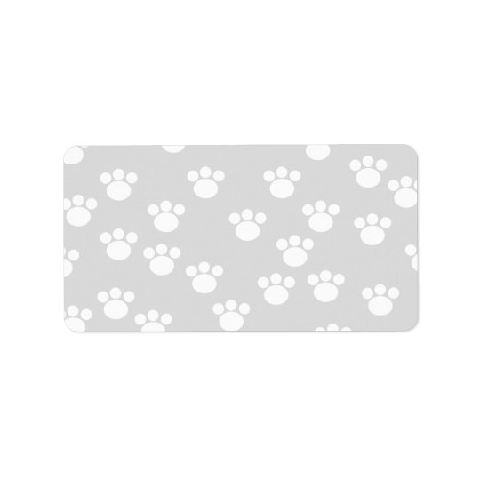 White and Light Grey Paw Print Pattern. Label