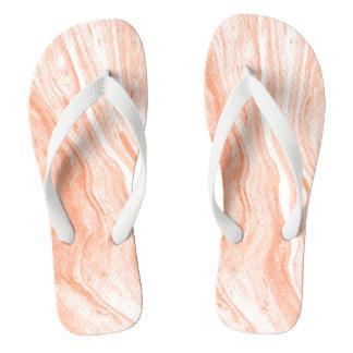 White And Light Orange Marble Stone Flip Flops